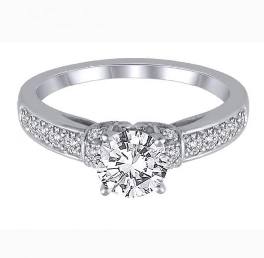 Helzberg 3/8 ct. tw. diamond semi-mount engagement ring in 14k white gold H0