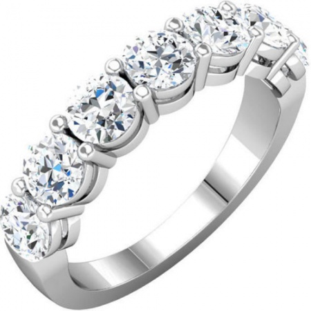 14k white gold natural diamond wedding ring band 2.00 ct round white gold 7 stone anniversary H0