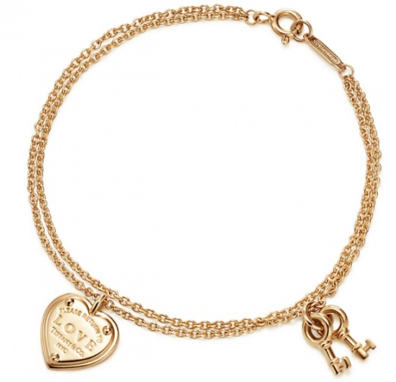 Tiffany & co. love heart tag key pend 18k rose gold bracelet H0