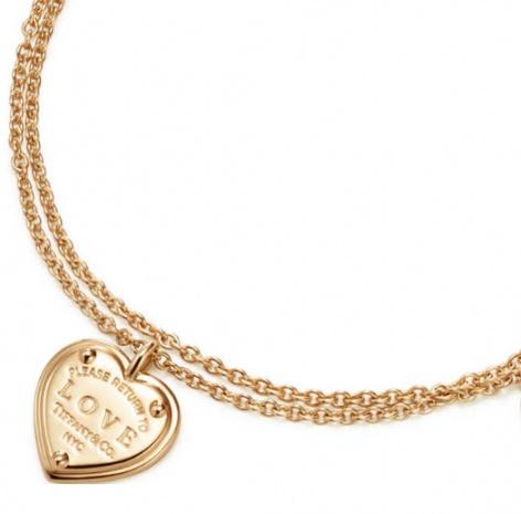 Tiffany & co. love heart tag key pend 18k rose gold bracelet H1