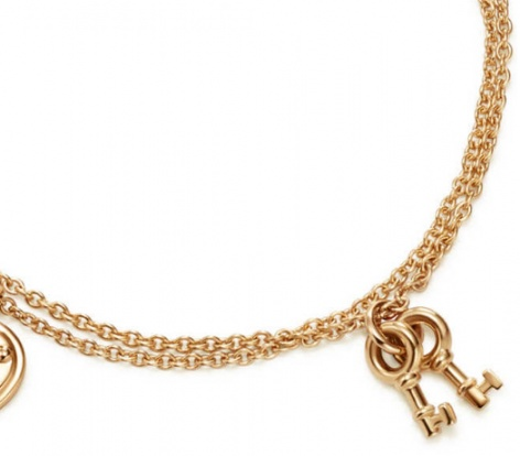 Tiffany & co. love heart tag key pend 18k rose gold bracelet H2
