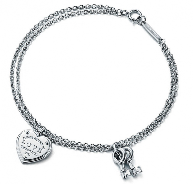 Tiffany & co. love heart tag key pend 18k white gold bracelet H0