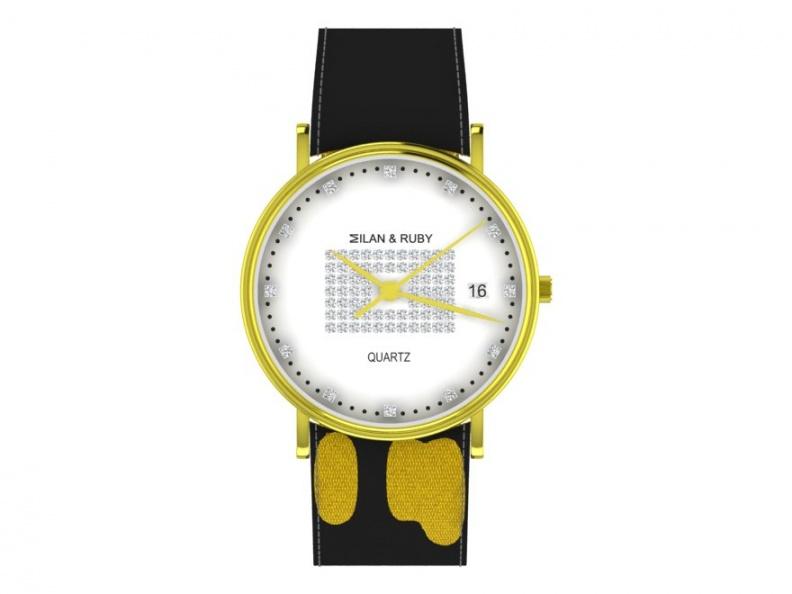 Milan & ruby president diamond 18k yellow gold quartz men's watch H0