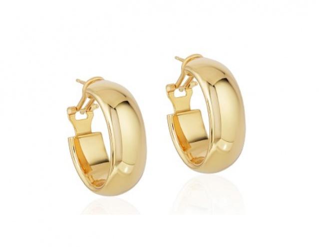 14k yellow gold omega back hoop earrings H0