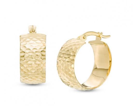 17mm diamond-cut hoop earrings in 14k gold H0