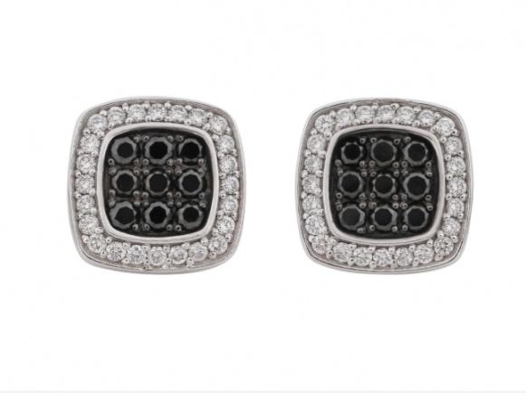 Jason of beverly hills black & white diamond 14k stud earrings H0