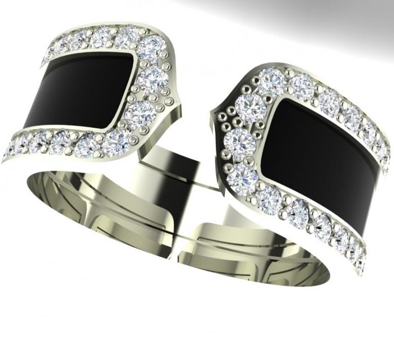 Cartier double c decor diamond black lacquer 18k white gold H0