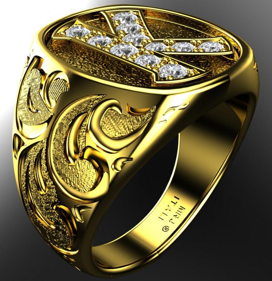 Milan & ruby the king 2005 art engraved band 14k diamond 0.88ct H0