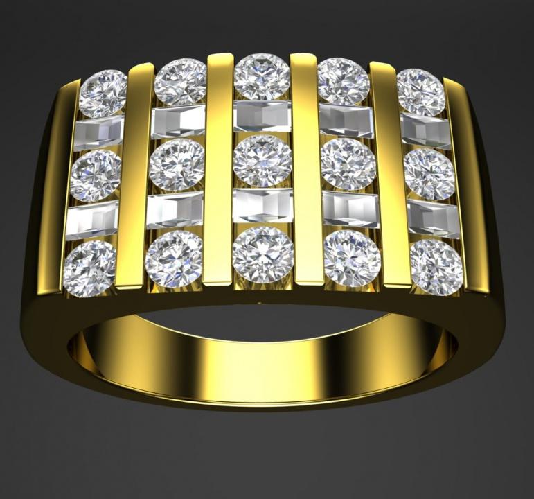 Milan & ruby five-rows large band channel 14k diamond men ring 1221099 H0